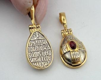 New Unique cross  sterling silver 925 & 9k yellow gold Cross  Pendant  holy sent , chain , garnet  (cross 4001)