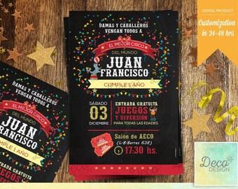 Circus Printable invitation,  Circus Birthday Invitation, Circus Printable, Circus Card, Carnival invitation