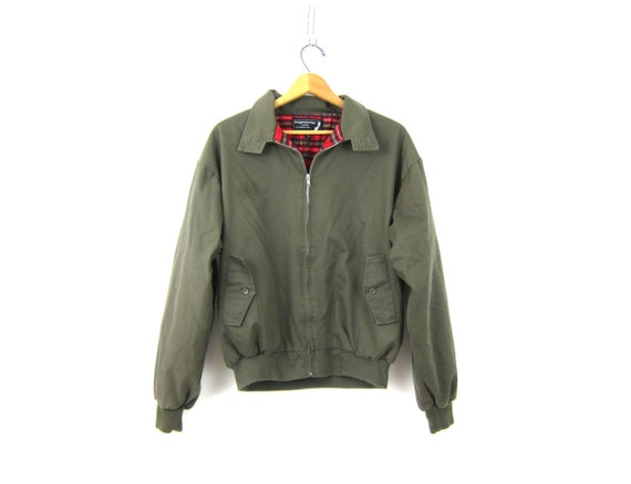 Mens Army Green Coat Flannel Lined Casual jacket Fall jacket Preppy Hipster Coat size Large