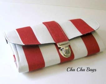 Women's Wallet, Smartphone iPhone Wallet, Clutch, Purse, Accordion, Red, White and Blue Wallet - Ready to Ship