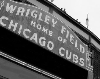 Chicago Cubs, Wrigley Field, 11x14, black and white, fine art print