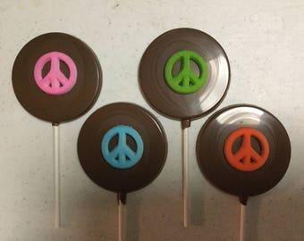 Chocolate Lollipop with sugar peace sign