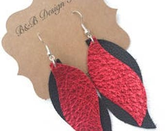 Macy Metallic Leather with Black Matte Lightweight Leather Earrings