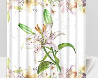 Shower Curtain White Floral Hibiscus