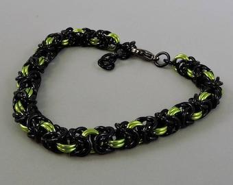 Byzantine Bracelet, Chainmail Bracelet Lime Green & Black Chainmaille Bracelet, Goth Jewelry, Chain Mail Jewelry