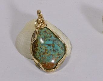 Kingman Turquoise Pendant 14K Gold Jewelry Natural Turquoise Jewelry Handmade Turquoise jewelry