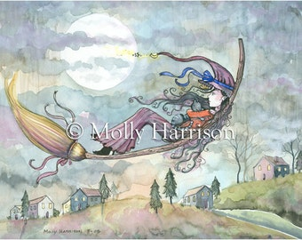Wings of October - Witch Tabby Cat Halloween Fantasy Art by Molly Harrison - 5 x 7 print