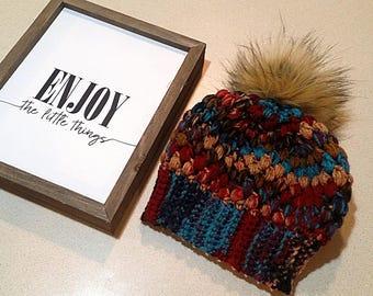 Faux Fur Pom Pom Beanie, Crochet Beanie, Winter Hat, Pom Pom Hat, Faux Fur Pom Pom