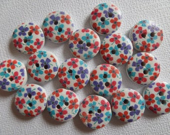 Set of 16 buttons flowery wood red, blue, purple
