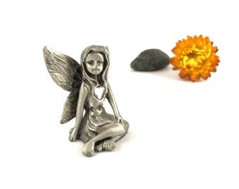 Vintage pewter fairy figurine, Pewter figurine, Pewter fairy figurine