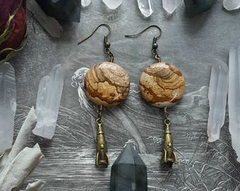 Planetary Protector Picture Jasper Gemstone Earrings