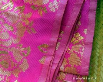 Balinese Traditional Cloth Kain Singapura Pink with Gold Rose Motif 1.8 meters