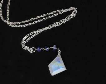 Rainbow Moonstone Tanzanite Sterling Silver Handmade Lariat Style Gemstone Pendant Necklace