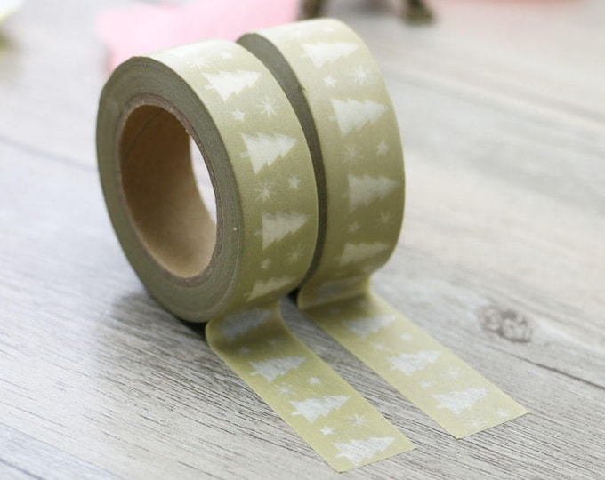 Tree Washi Tape - Christmas Washi Tape - Olive Green Christmas Tree washi Tape - Paper Tape - Planner Washi Tape - Washi - Decorative Tape