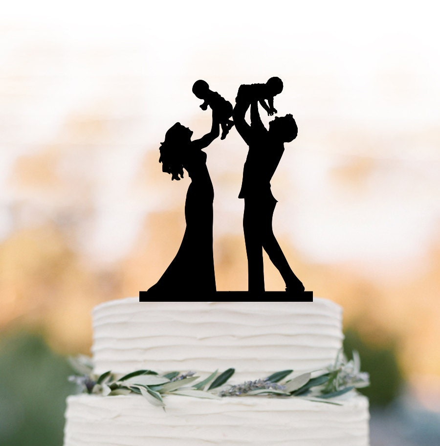Family Wedding Cake Topper With Twins Baby Bride And Groom
