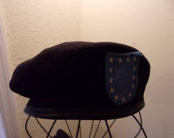 vintage beret,black wool beret,leather trim,military beret,blue patch with 13 stars,vintage accessories,DSCP Garrison Collection,size 6 7/8
