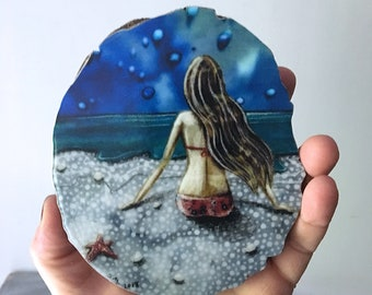 Beach house decor, graduation gift, soul search, one of a kind, gift for her, shabby chic, Mounted Print, round wood slice, shellieartist