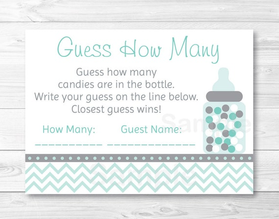 Great Guess How Many Baby Shower Game / Candy Guessing Game /