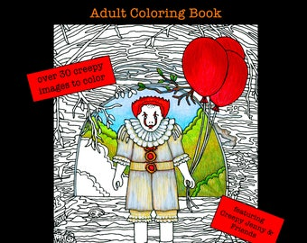 Autographed copy Scary Movie Creepy Doll Coloring Book Horror Movies Killer Clown Haunted House Dark Humor Funny Gift Afraid Dark Nightmares