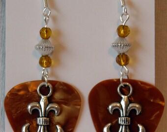 Silver Fleur de Lis Charm on Guitar Pick Beaded Earrings - Handmade in USA