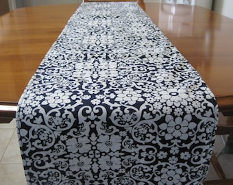 Table linens, Table runner, Elegant dining, Reversible, Floral table runner, Navy and white, Cotton table runner, Classic Table runner,