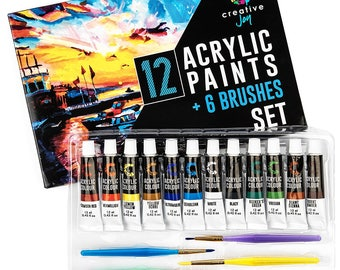 Acrylic Paint Set & Brushes with Rich Pigments in 12 Vivid Colors with 6 Starter Brushes