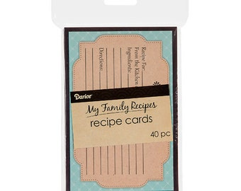 My Family Recipes Recipe Cards - Teal and Kraft - 40 count 1219-547