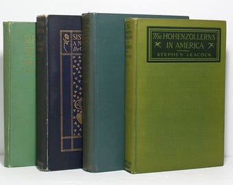 Antique Books, Green Books, Blue Books, Set of 4 Decorative Hardcover Books, Home Decor, Published 1901 to 1925, Book Bundle, Collectibles