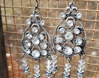 Substantial, silver earrings