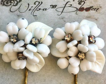 White West Germany Bridal Hairpins 1940 1950 Vintage Jewelry Bride Weddng Bobby Pins