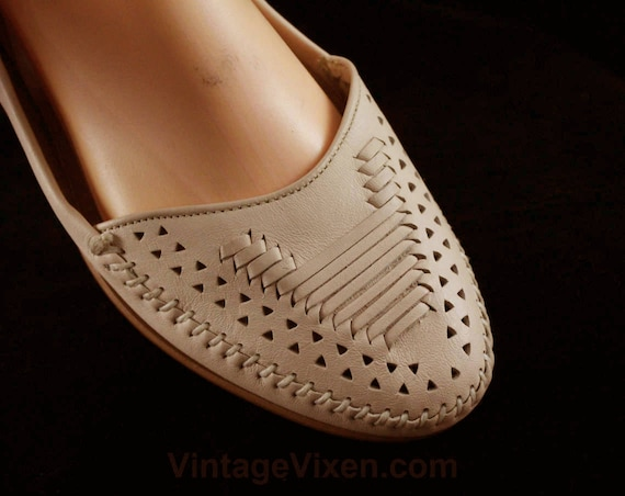 Heels Detail Through Deadstock Inch Low Fine 10 Woven Shoes Leather 48053 Leather Beautiful Size Beige Heels Quality Putty 1 7YwOpqYg