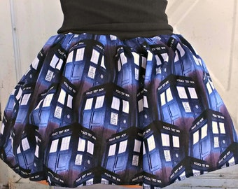 POLICE BOX tutu skirt TARDIS inspired Doctor Your size from licensed fabric
