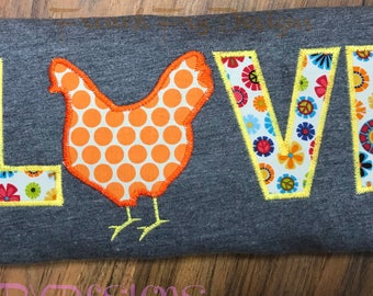 Chicken LOVE Appliqued T-Shirt Customized