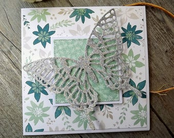 Floral and intricate die cut butterfly square card
