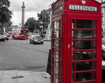 London Telephone Booth in black and white hand colored red