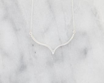 Silver V Necklace, Delicate V Necklace, Rose Gold V Necklace, Chevron Necklace, Geometric Necklace,  Triangle Necklace, Arrow Necklace