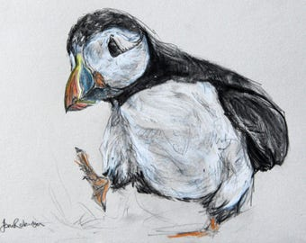 Huffin' an' a Puffin, print from original drawing.  18 x 24cm.  Free UK postage