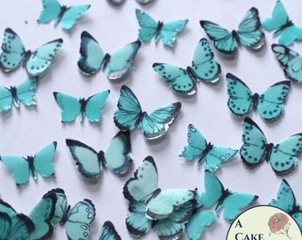 48 small teal edible butterflies, wedding cake topper. Paper butterflies, wedding cake topper, waferpaper butterflies, cake pops