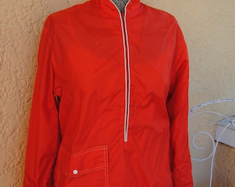 Vintage 1970's Bright Red McGregor Windbreaker with White Piping