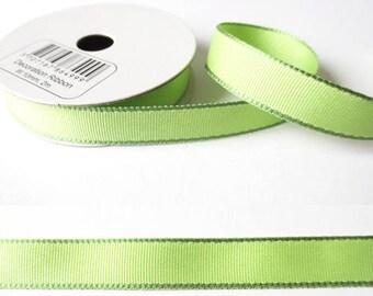 2 m x fancy 10mm almond green grosgrain Ribbon