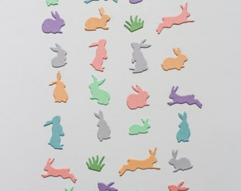 Easter bunny confetti - pastel spring table decor - party table confetti - Easter die cut - Scrapbooking rabbit paper punch - Egg hunt decor
