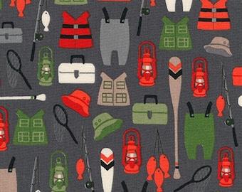 Fishing Fabric, Brawny Bears Collection, Quilting Cotton, Camping Fabric, Robert Kaufman Fabrics, Boy quilt, Premium cotton, choose the cut