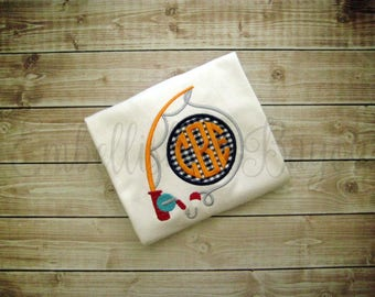Fishing Rod with Monogram Appliqued T-shirt Personalized for Boys