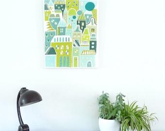 Nursery Art, Green Houses, City Skyline Living, Canvas Wall Art Framed Print, illustration, Pastel, ready to hang, home, office and nursery