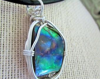ammolite wire wrapped pendant
