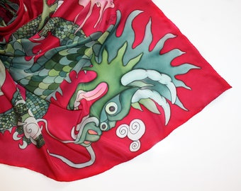 Red silk scarf Green dragon fantasy art to wear Hand paint Chinese silk scarf Mythical creature women shawl Pagan art gift for dragon lover