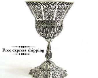 925 Sterling Silver, Goblet, Chalice, Kiddush, Wine Goblet, Filigree, Holidays Gift, Wedding Gift, Judaica, Sterling Silver Cup, ID743