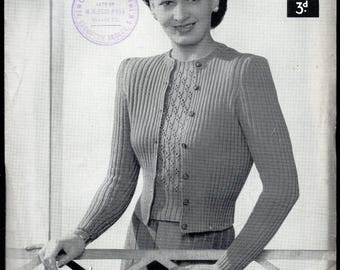 Lister Lavenda Lady's Primrose Twin Set Knitting Pattern, 1930s/40s