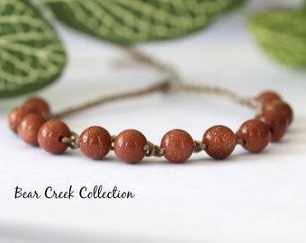 Goldstone Bracelet, Gemstone, Crochet Bracelet, Sparkling, Layering, Adjustable, Boho Jewelry, Bohemian Style, Bead and Cord Jewelry