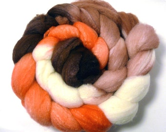 Handdyed MerinoWool/Tussah Silk Roving - Phoebe - brown, tan, coral, white